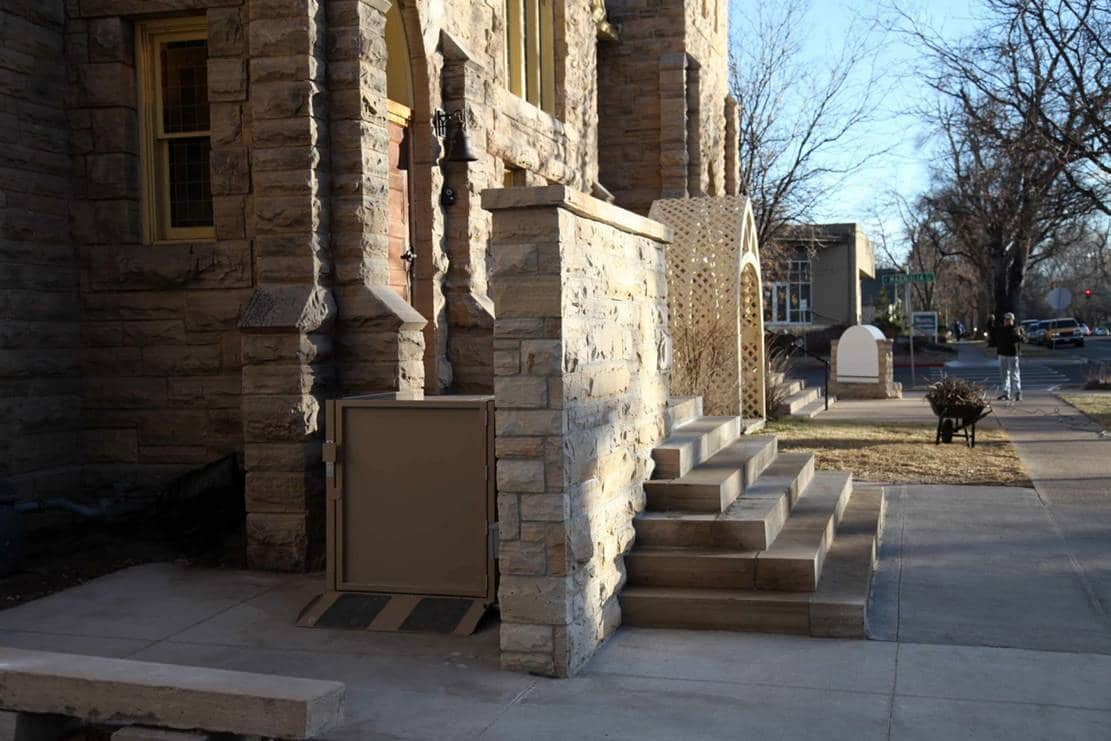 wheelchair lift at front of church