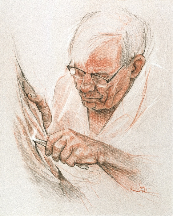 Joni's sketch of her father, The Woodcarver