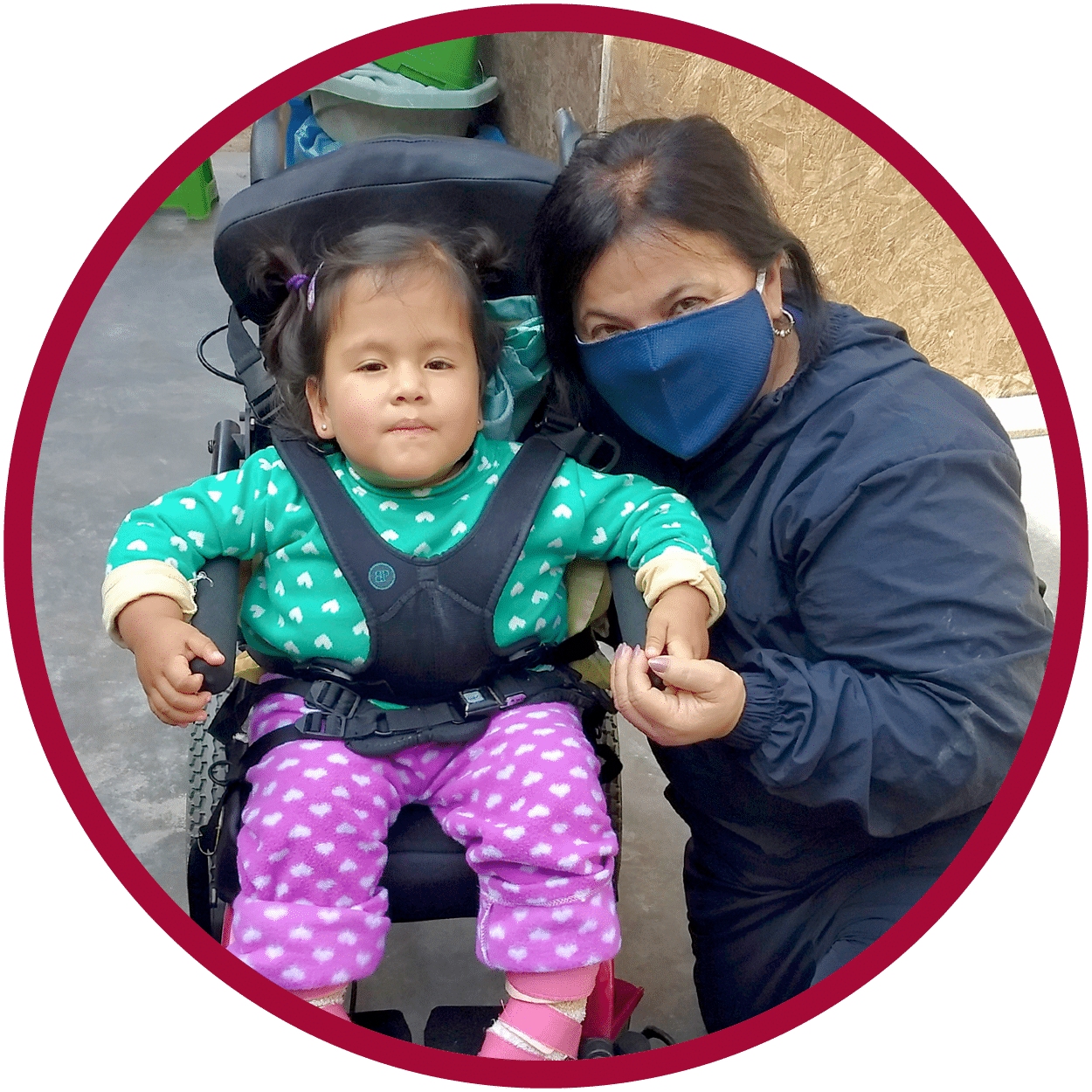 Photo of Valentina in a new pediatric wheelchair